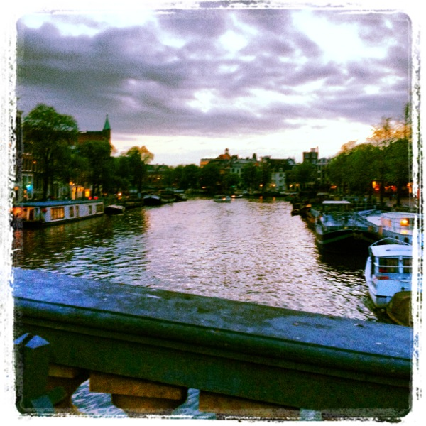 Canals at sunset in Amsterdam