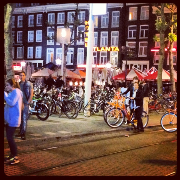 Nightlife in Amsterdam...not the red light district so don't get excited. Still, the bikes capture Amsterdam traffic at it's best...this place is FILLED with bikes.