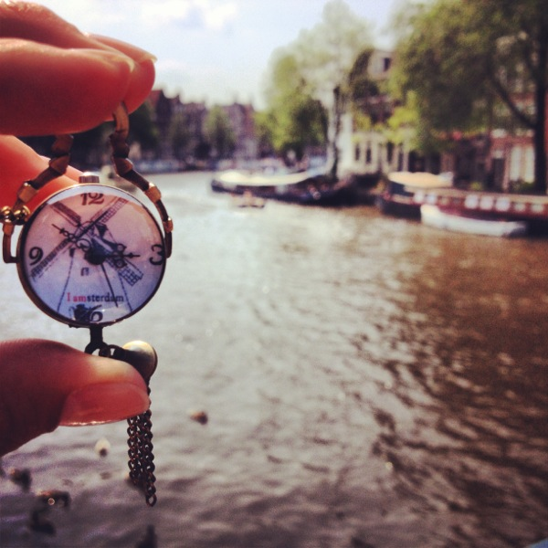 "One of my flea market purchases that I'm obsessed with! My ""I Amsterdam"" necklace/clock."