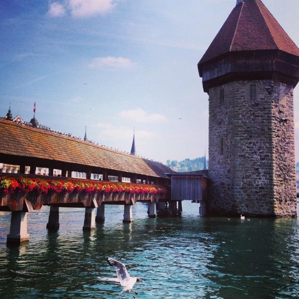 Lucerne, Switzerland's iconic wooden bridge.