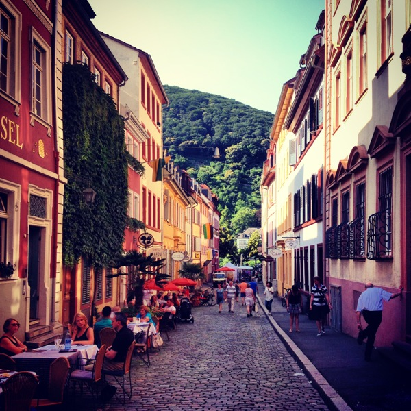 Heidelberg, Germany! Right at the end of this picturesque street was a live band and packed biergarten along the river!