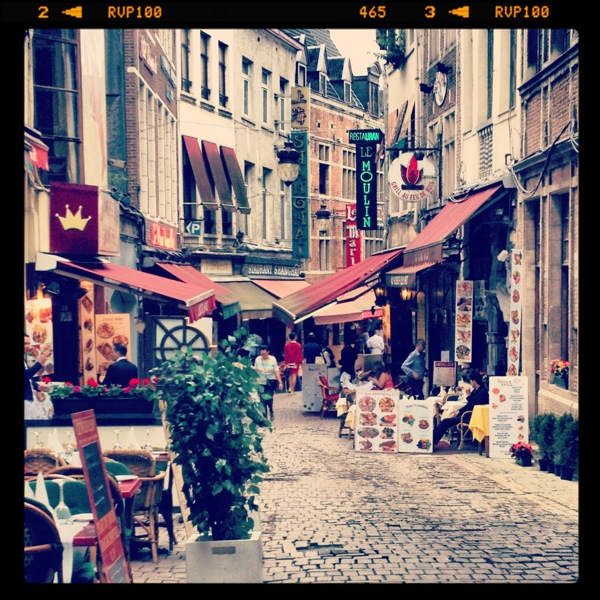 Lunch stop in Brussels, Belgium. A side street filled with options!