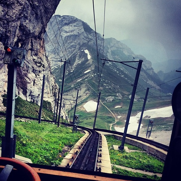 Going down the mountain on the world's steepest train!