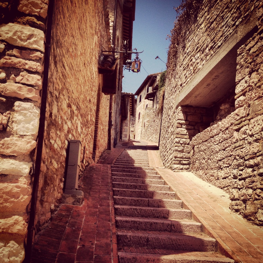 One of the dozens of stairways winding around the inclined village of Assisi.