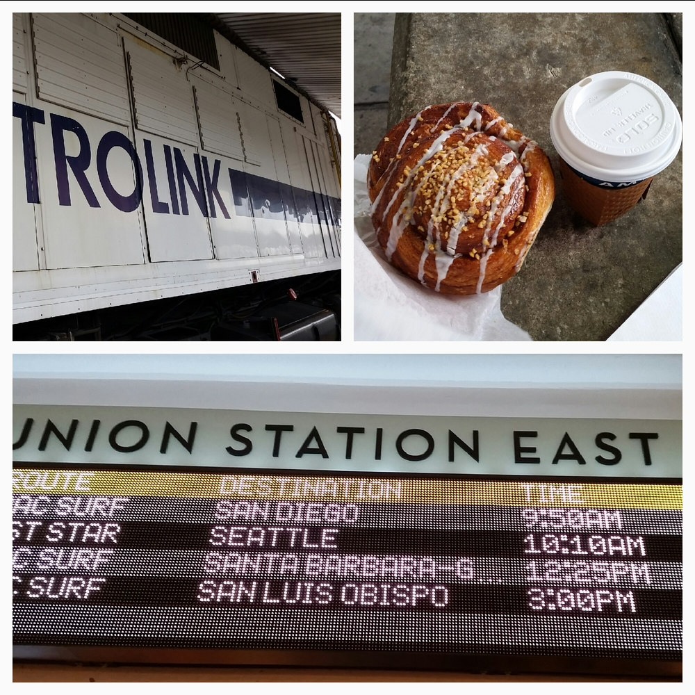 Coffee, cinnamon roll and diesel fumes. Next stop, San Diego Comic-Con.