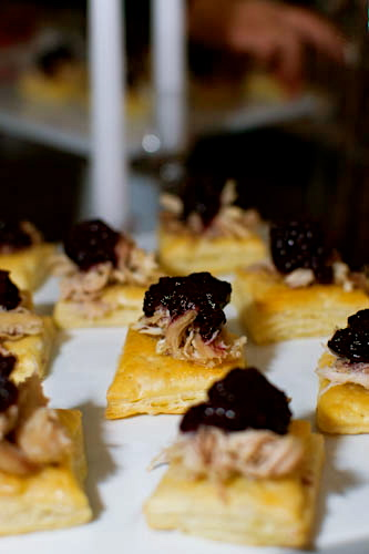 turkey confit and blackberry compote on house-mede puff pastry squares