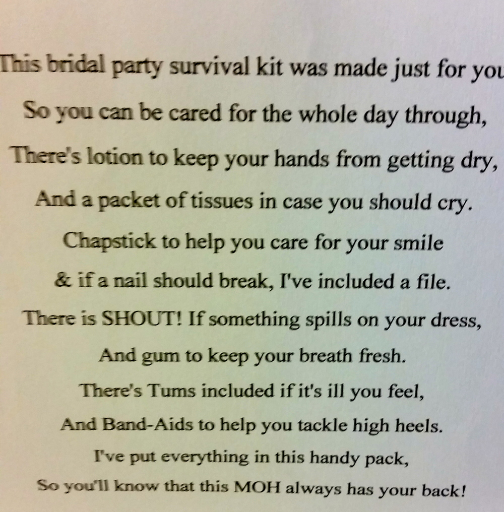 Groom Survival Kit Poem Picture Home Design 2017