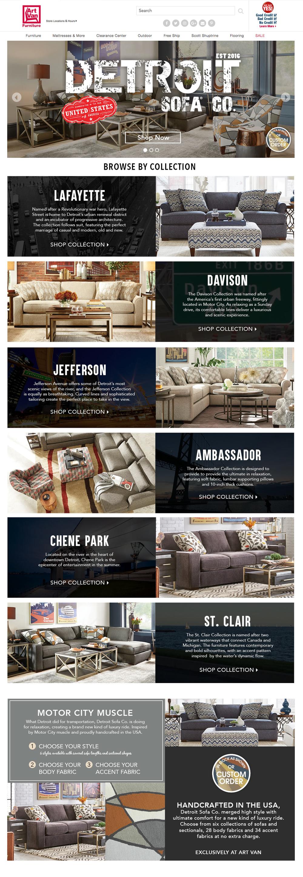 Home Page - 2017, Detroit Sofa Co. Website, Home Page - Desktop