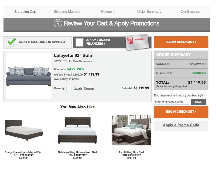 Shopping Cart - 2017, Detroit Sofa Co., Website, Shopping Cart - Desktop