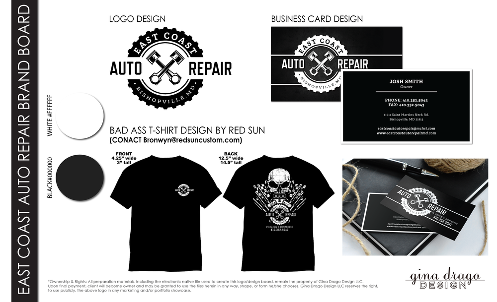 East Coast Auto Repair Logo Design Bishopville Maryland Gina