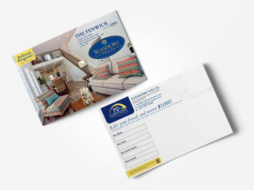Postcard Mailer Design Capstone Homes Delaware
