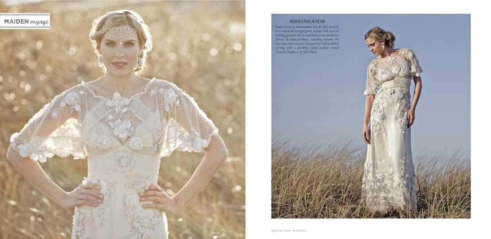 "The ""Athenais"" Earrings featured in the Spring/Summer 2012 Issue of Vermont Vows and WellWed Magazines."