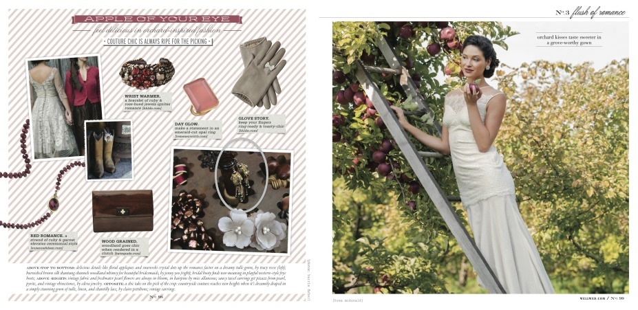 "Edera Jewelry's ""Cabriole"" Earrings featured in the Fall/Winter 2013 Issue of Vermont Vows and WellWed Magazines."