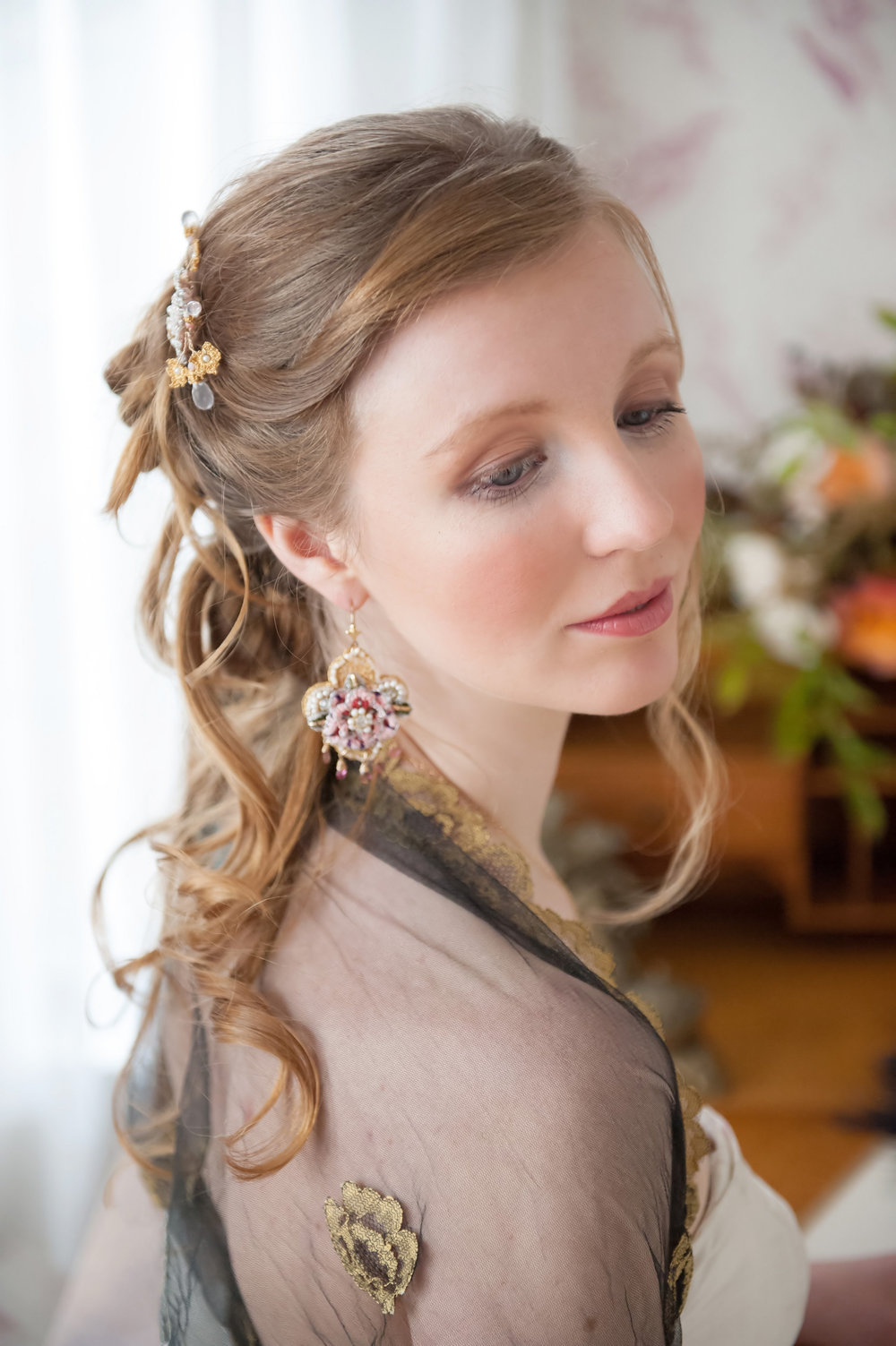 Tudor Rose  Earrings (one-of-a-kind)