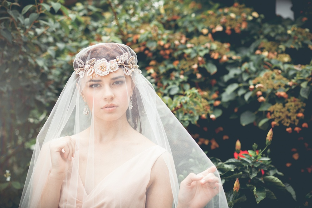 Aphrodite Rose Hair Vine + Acanthus Earrings