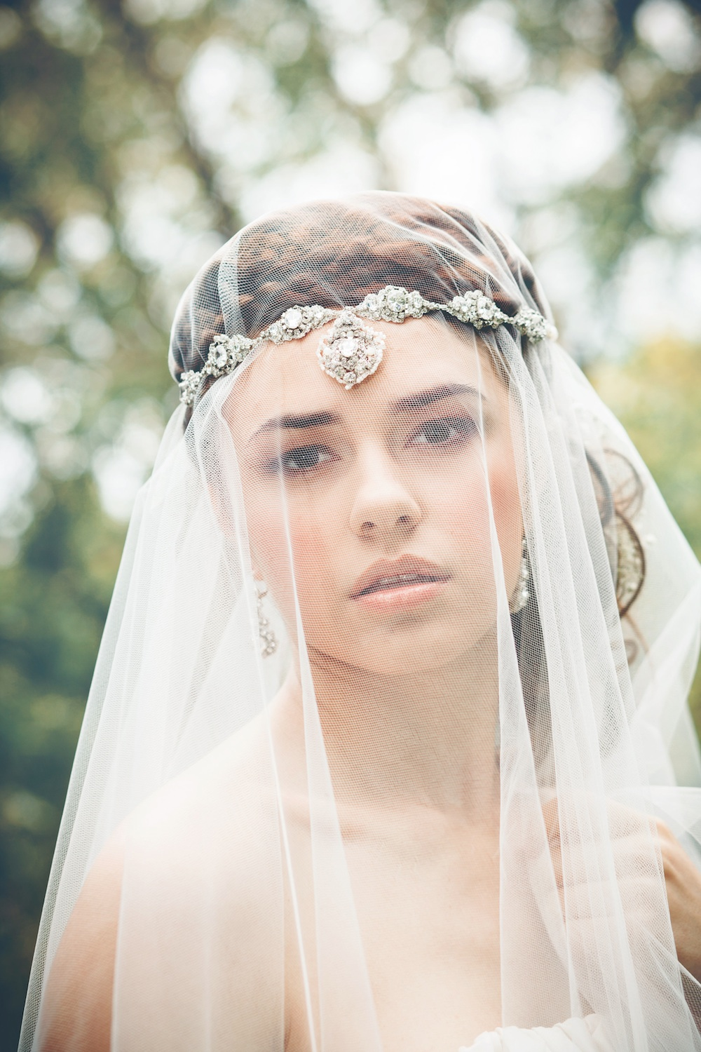 Acanthus Halo Headpiece & Earrings