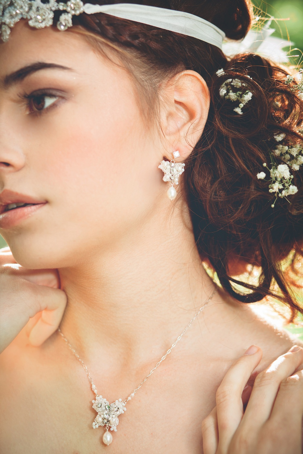 Dia Earrings & Necklace, Eirene Headband