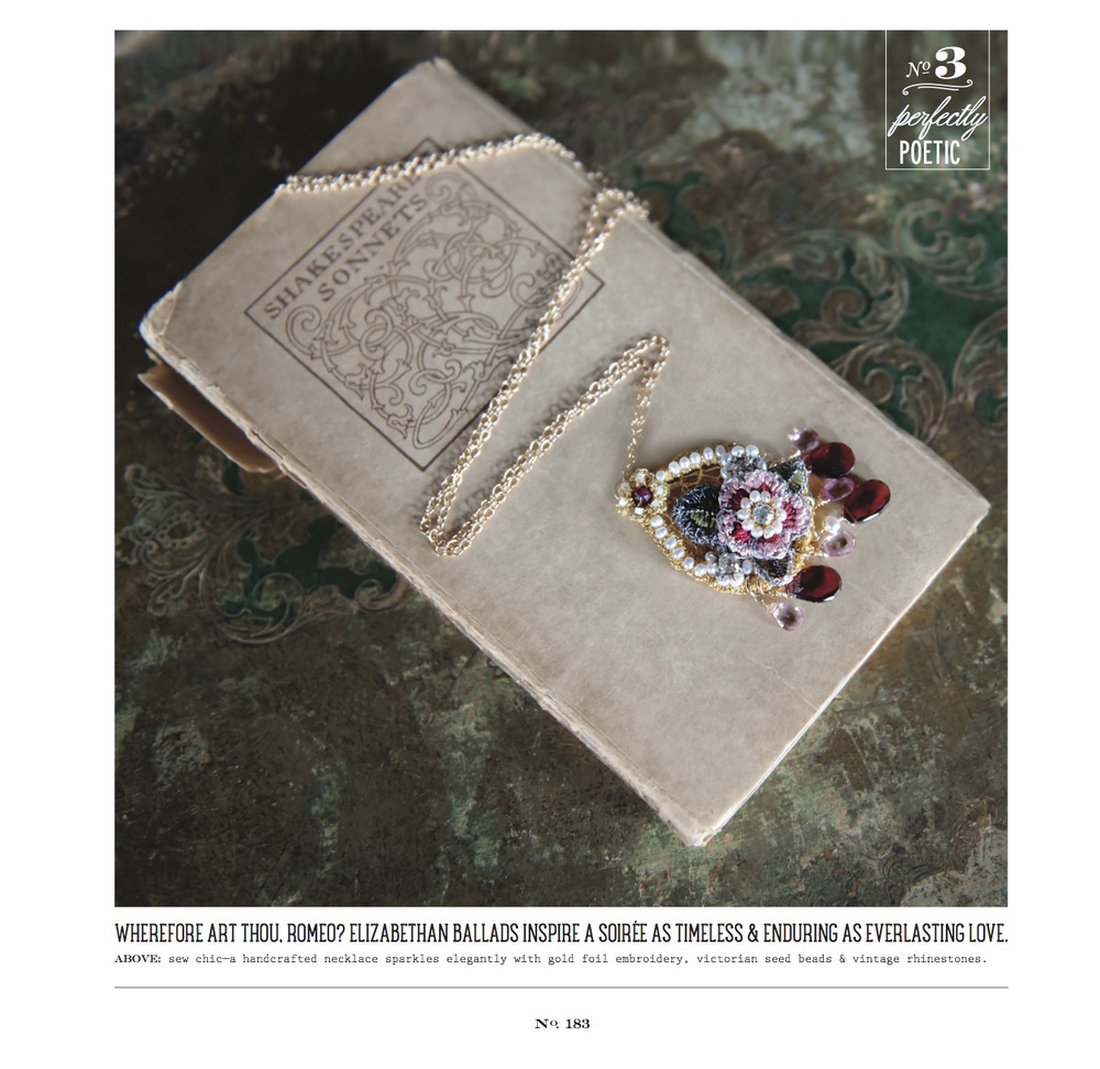 "Edera Jewelry ""Tudor Rose"" necklace, featured in the Fall/Winter 2015 Issue of Vermont Vows Magazine"