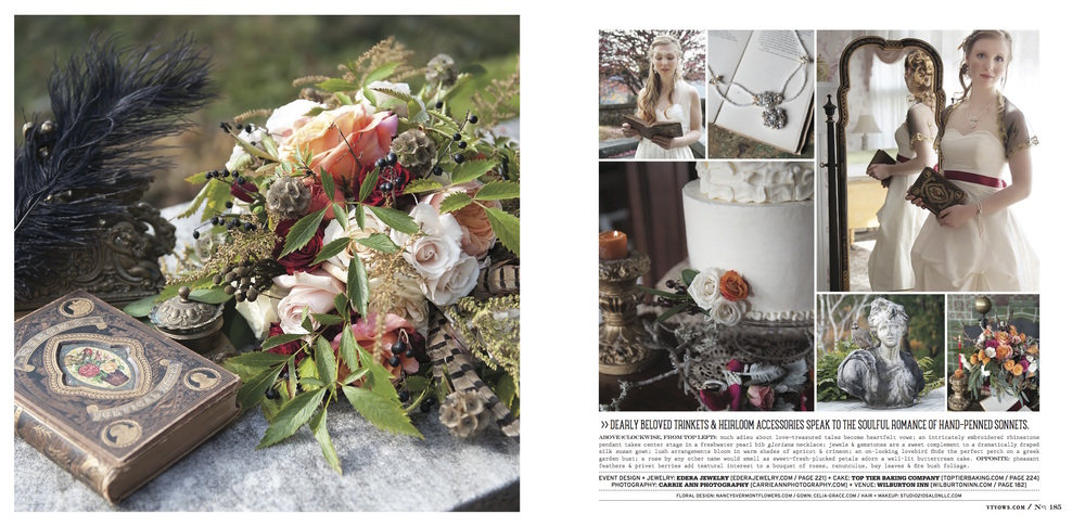 """Gloriana"" necklace, bracelet and earring set, and ""Cordelia"" halo headband and earring set. Featured in the Fall/Winter 2015 issue of Vermont Vows Magazine."