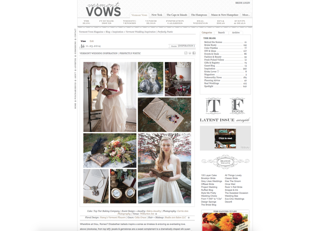 A selection of Edera Jewelry designs featured on the  Vermont Vows Magazine blog .