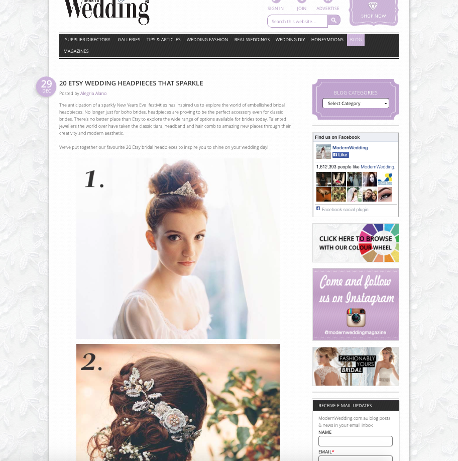 "Edera Jewelry's ""Aphrodite"" hair vine, featured on Modern Wedding Magazine's  blog ."