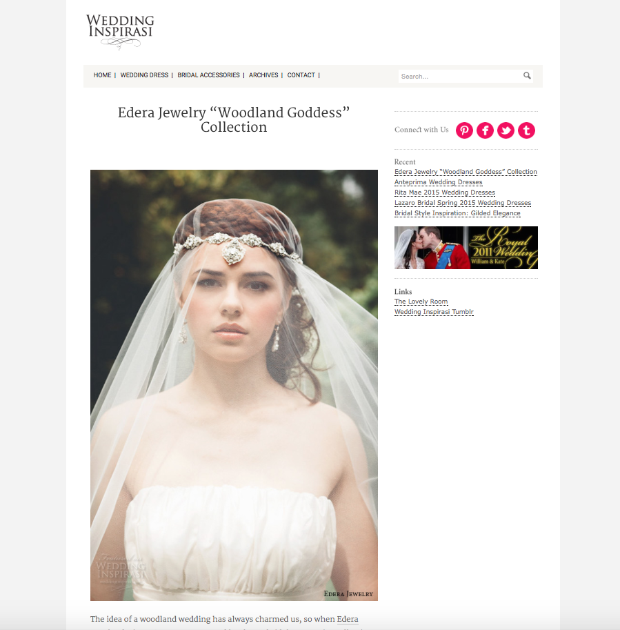 The 2015  Woodland Goddess  Collection, featured on  Wedding Inspirasi .