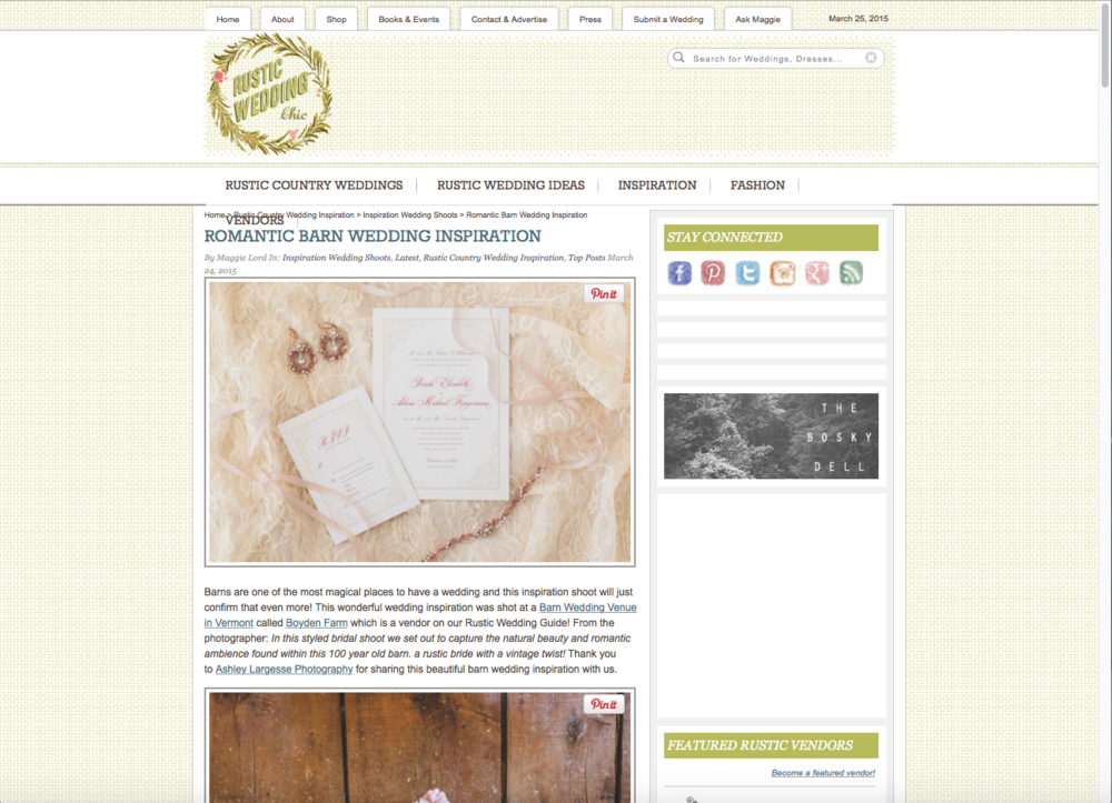 """""""Anthea"""" earrings and head piece featured on  Rustic Wedding Chic ."""