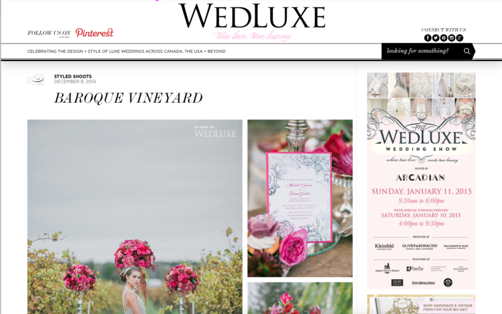 "Edera Jewelry's ""Gloriana"" necklace featured on  Wedluxe Magazine's  blog."
