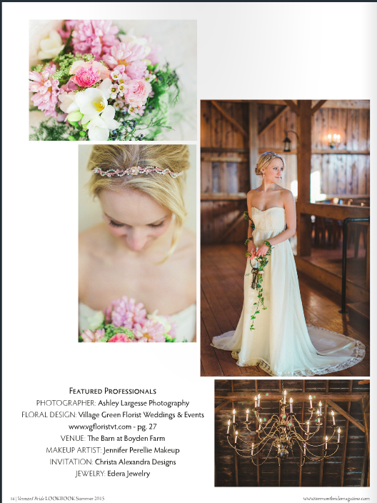 "The ""Anthea"" earrings and matching headband, featured in  Vermont Bride Magazine ."