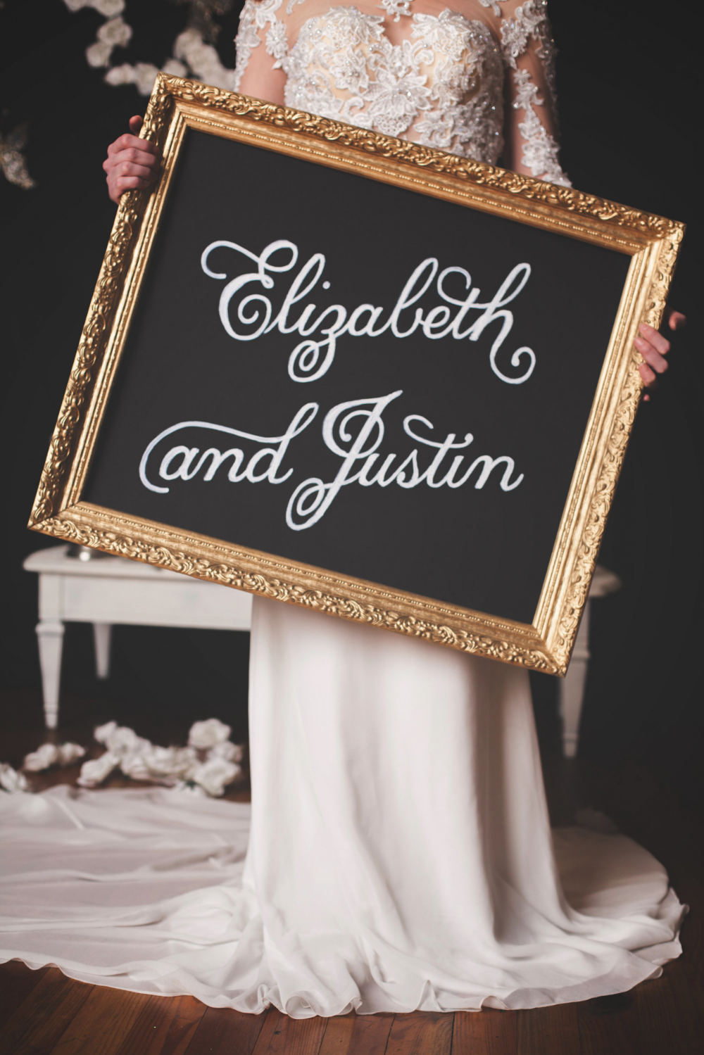 wedding chalkboard with gold frame