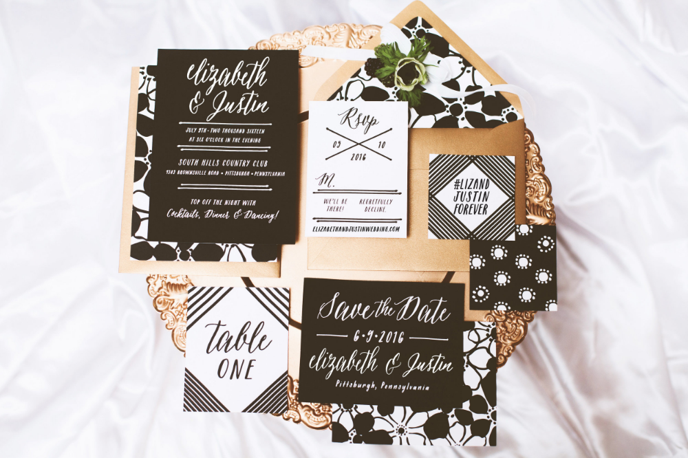 black, white, gold wedding stationery
