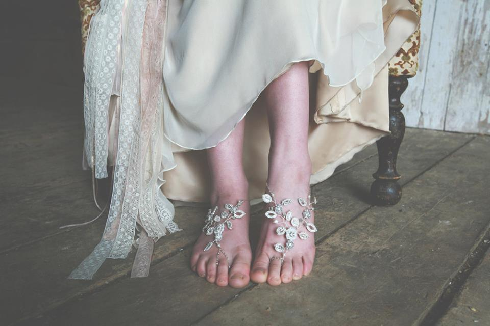 Silver Wedding Barefoot Sandals with Pearls, Vines | VT Wedding Jewelry