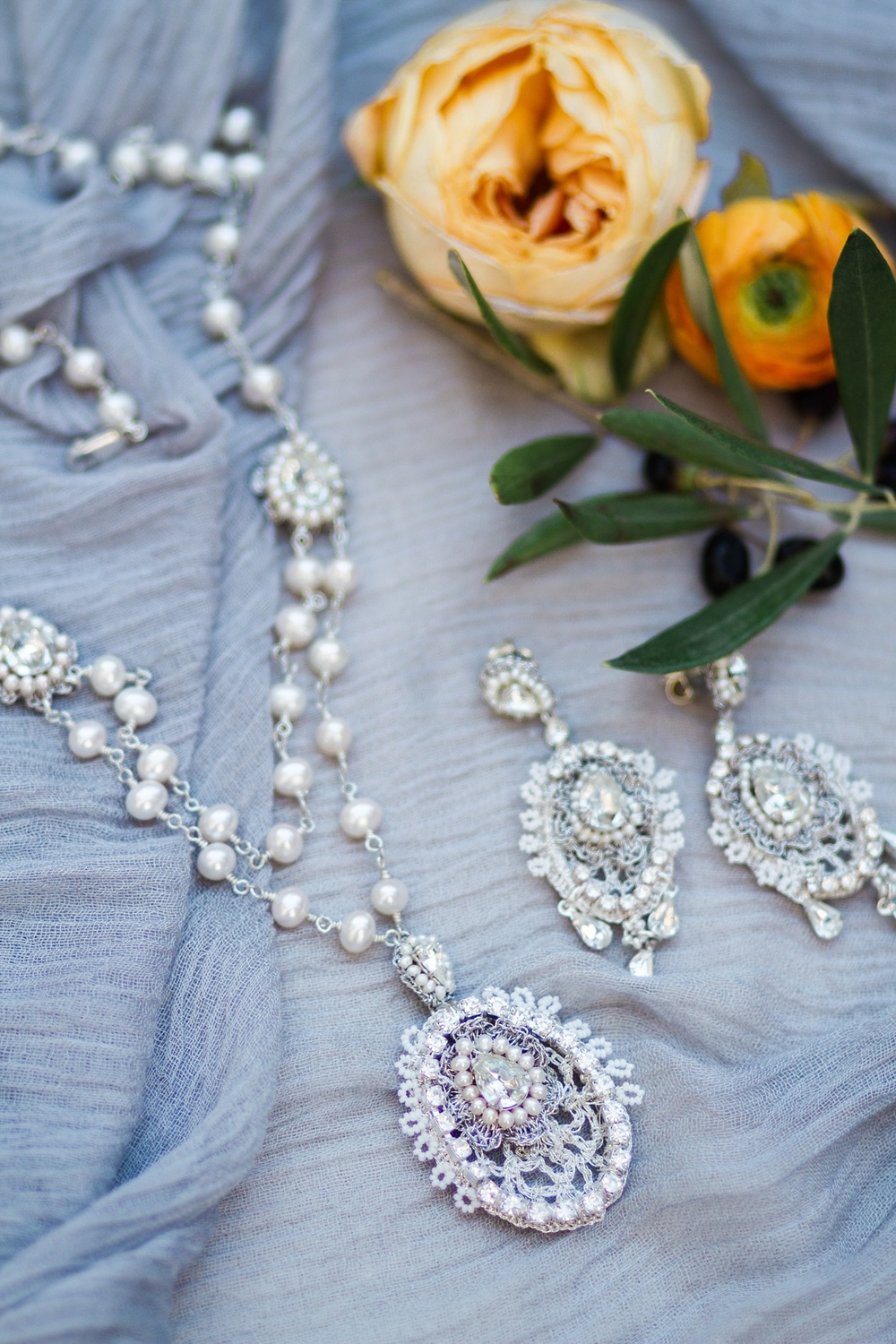Romantic, vintage-inspired fine lace bridal jewelry
