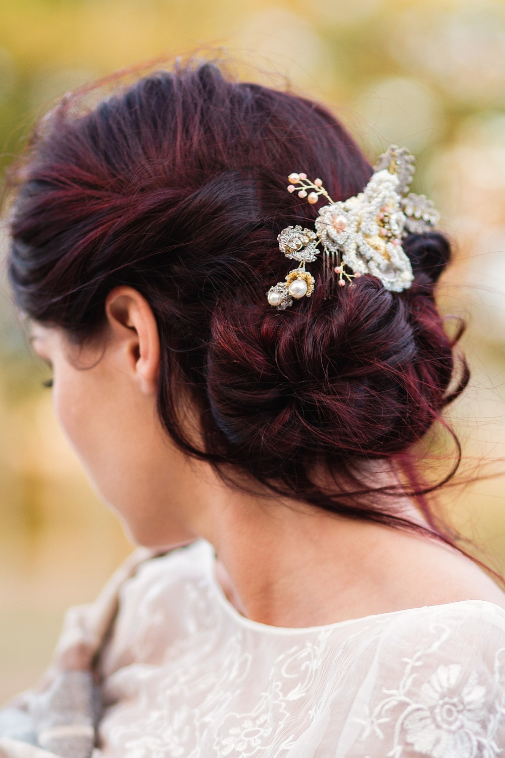 Autumn rose bridal hair comb coral/peach