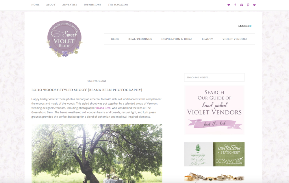 Edera designs featured on the  Sweet Violet Bride blog .