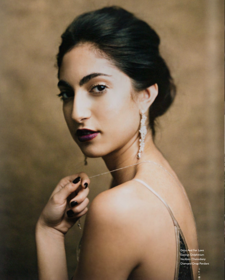 "Edera ""Delphinium"" earrings featured in  Zardozi Magazine ."
