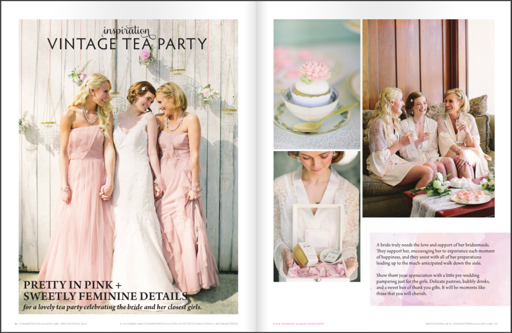 "Edera ""Garland of Roses"" earrings and ""Cordelia"" hair pin in  Vermont Bride Magazine ."