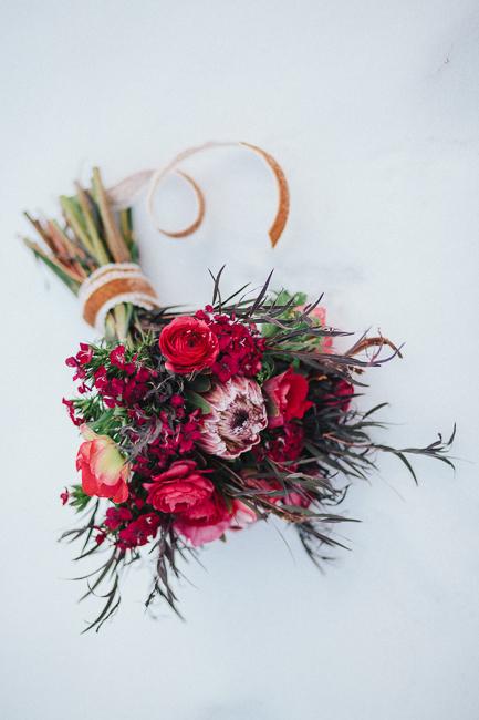 winter red burgundy bridal bouquet