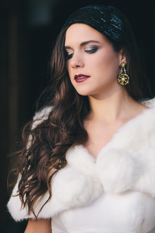 dramatic gold lace and black velvet bridal earrings