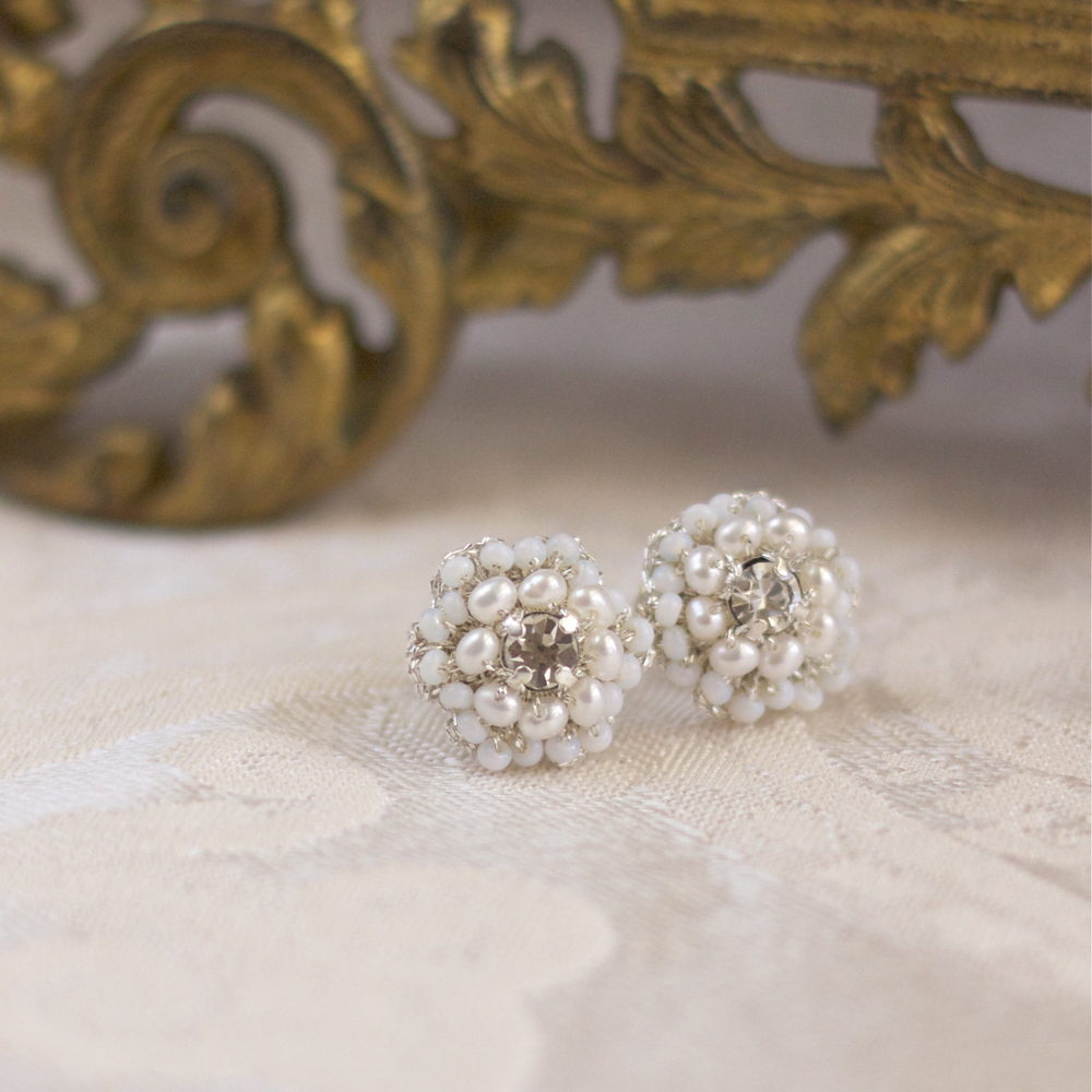 matilda pearl and silver lace bridal post earrings