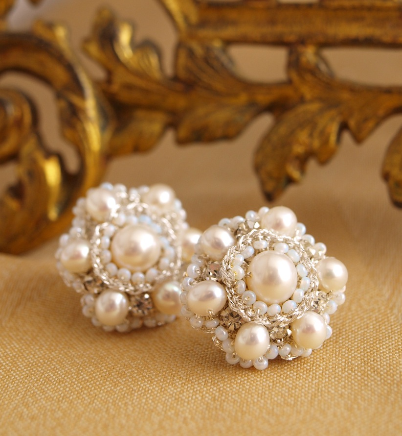 pearl, crystal and silver lace bridal stud earrings