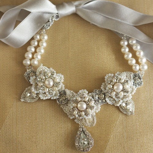 sonnet necklace- lace and pearl bridal statement bib necklace