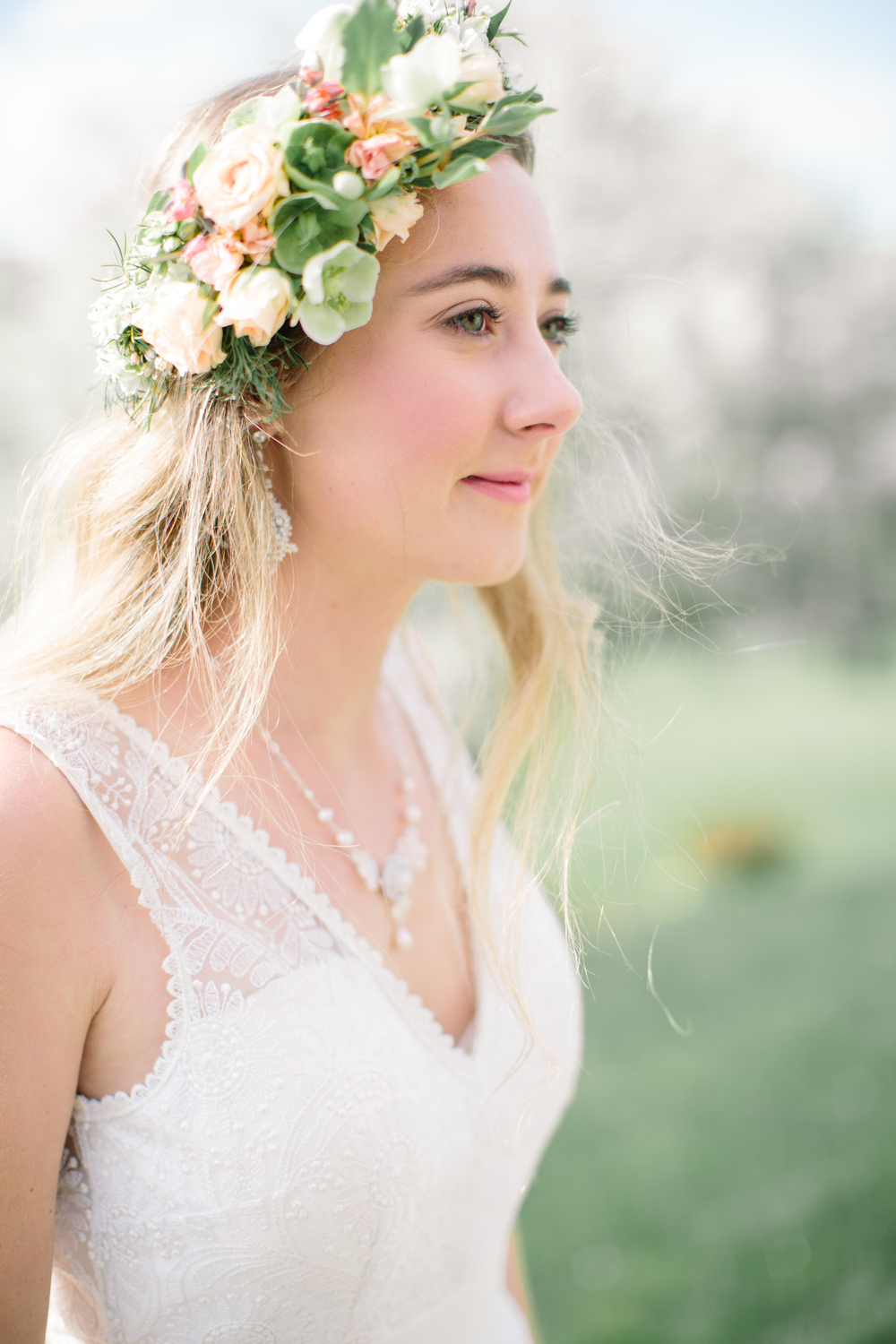 Vermont Apple Blossom Wedding Inspiration | Lace Bridal Jewelry