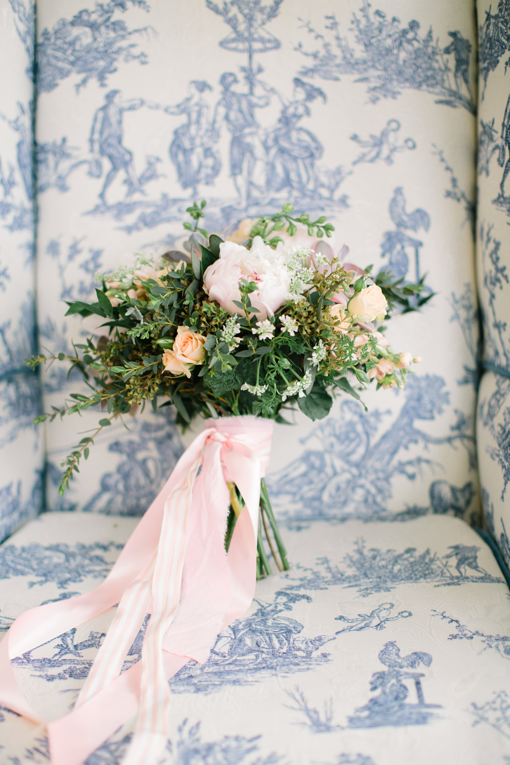 Pink, Peach, Blue Toile Wedding Inspiration | Handmade Bridal Jewelry