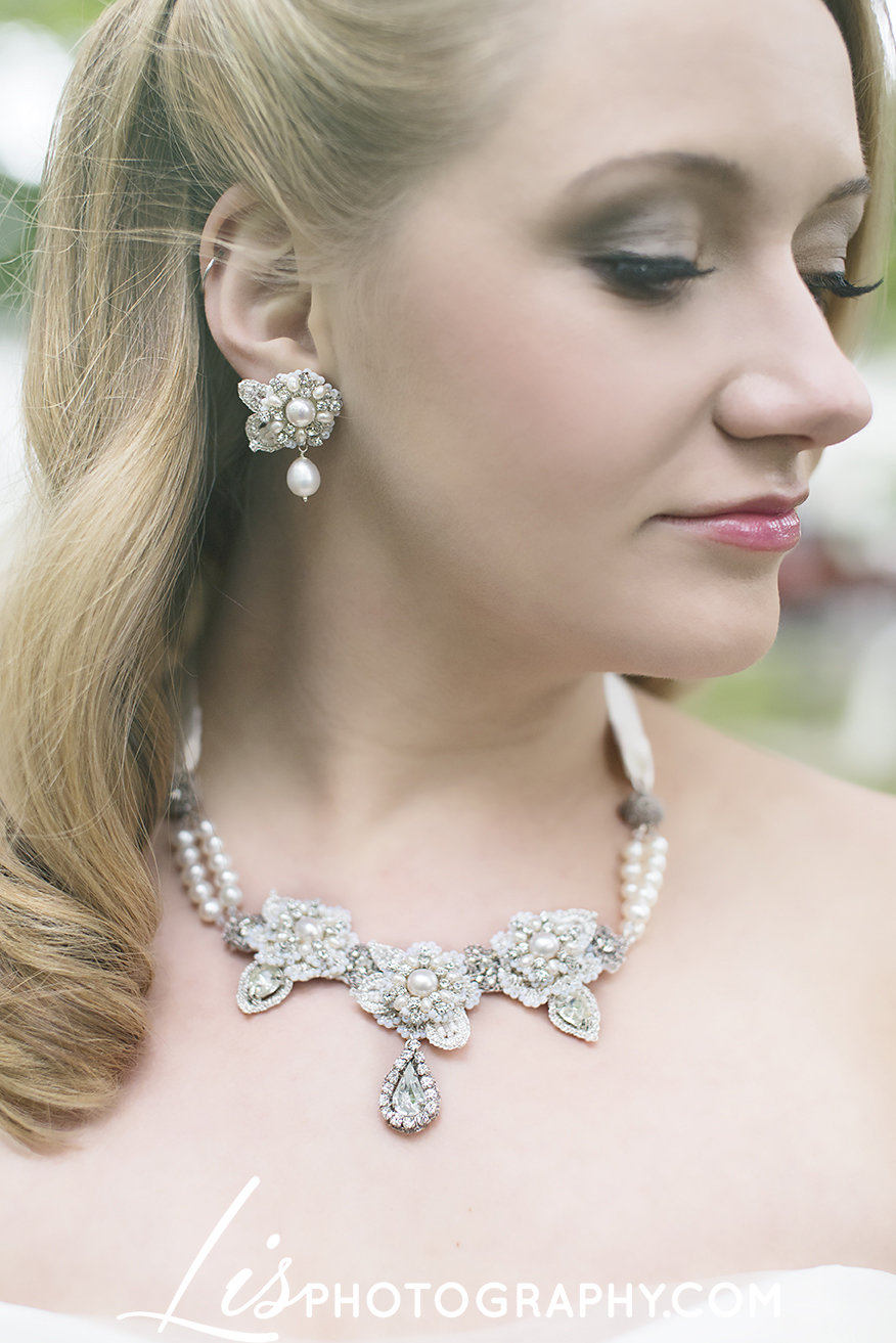 Vintage-Inspired Bridal Jewelry Earring & Necklace Set with Handcrafted Lace
