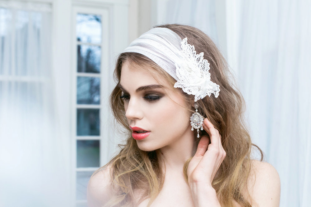 """Lilliane"" Earrings with Kata Banko Couture Headpiece"