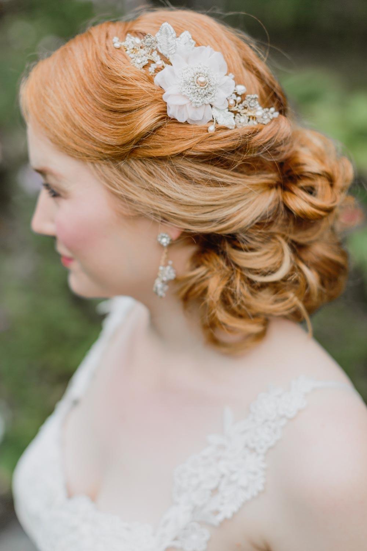 Peony Headpiece & Damask Rose Earrings