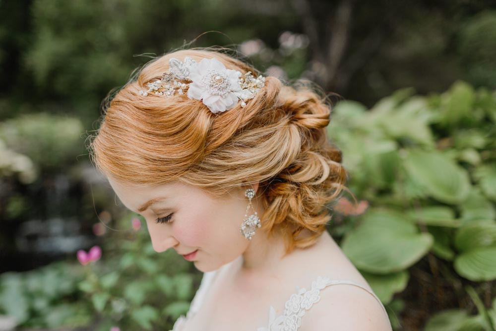 Peony Headpiece & Damask Rose Earrings