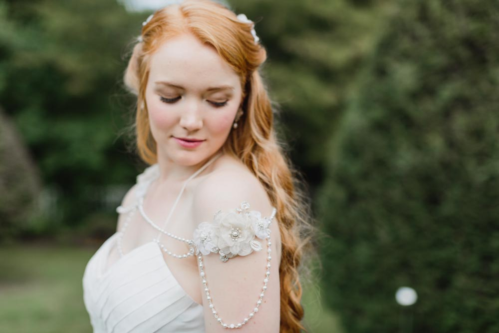 Tea Rose Shoulder Necklace & Myrtle Headpiece