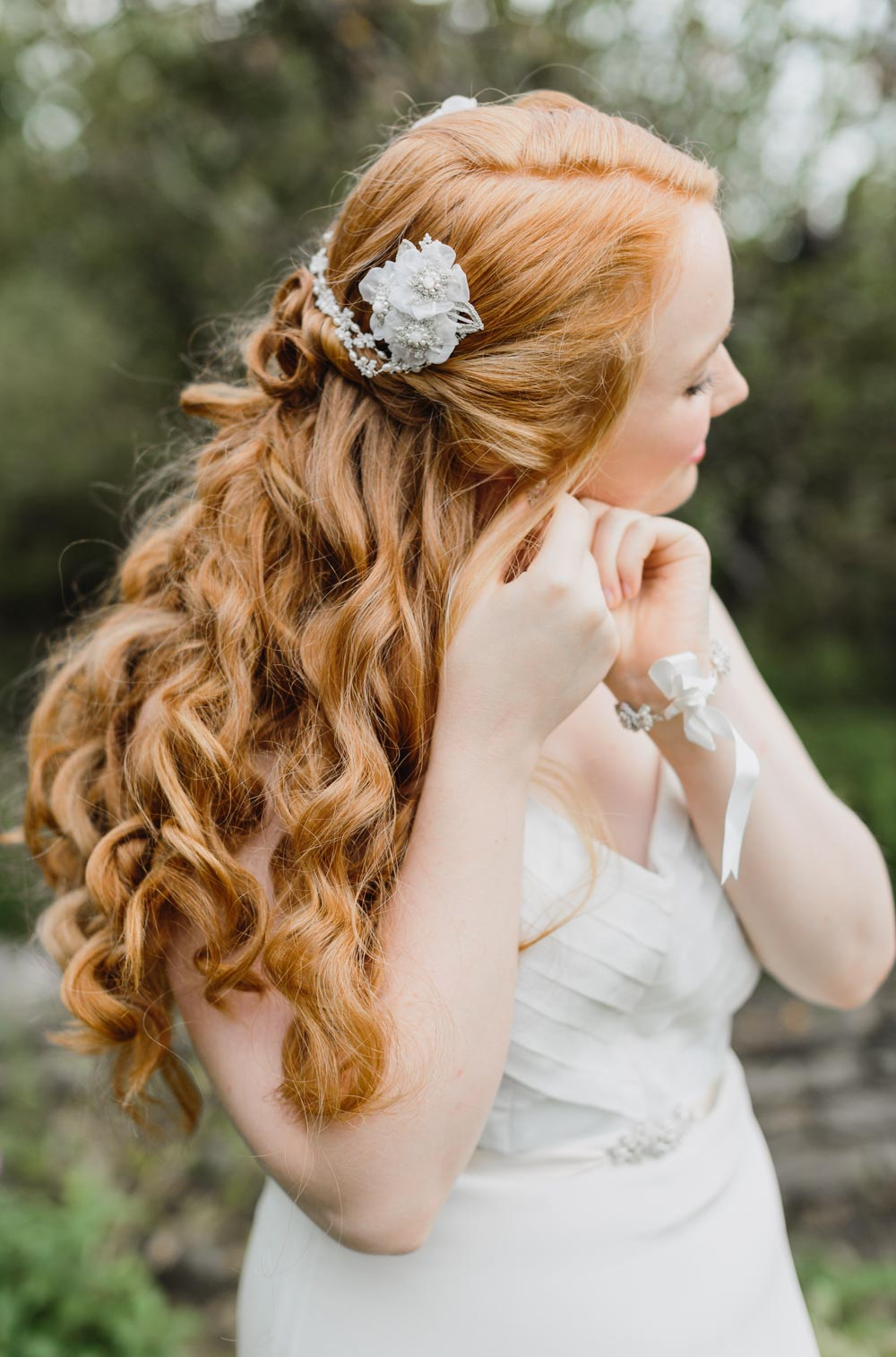 Myrtle Hair Chain, Gardenia Bracelet, & Orange Blossom Belt